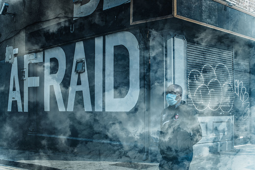 Contemporary Irish Photographer Deirdre Brennan photographs Dublin in lockdown as an in camera double exposure